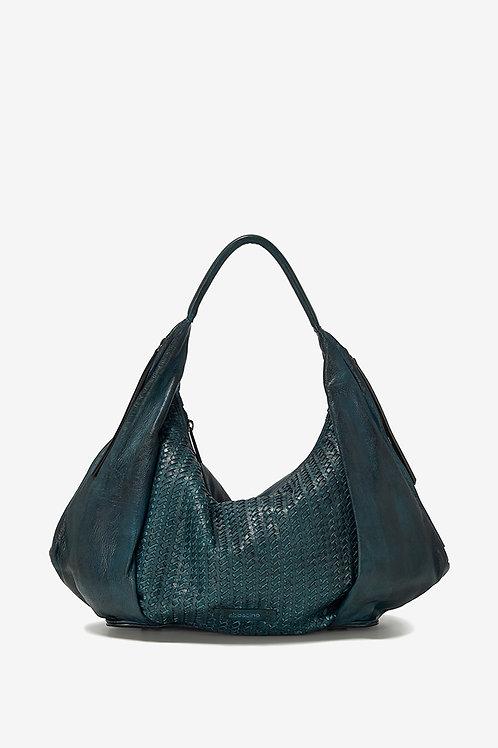 Abbacino Petrol Leather Shoulder Bag