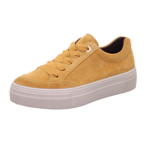 Legero Lima platform lace-up trainer in suede - mustard