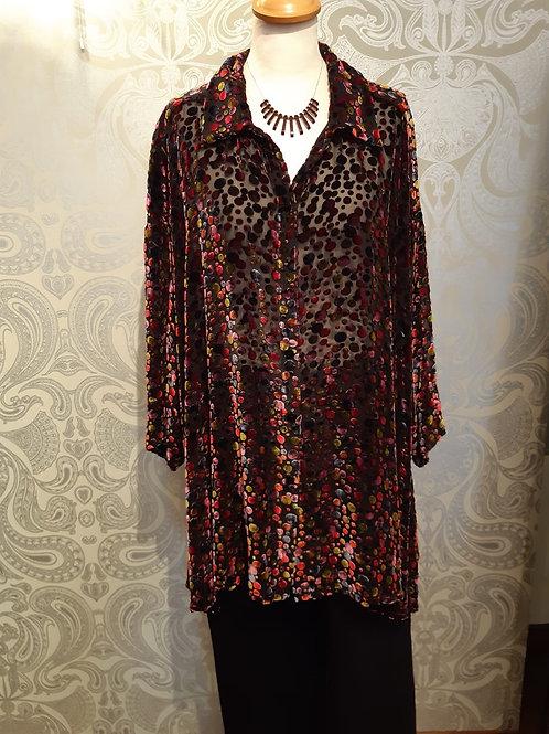 Grizas multicoloured silk and velvet blouse