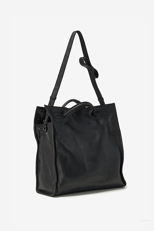 Abbacino Black Leather Shopper with rivets