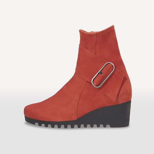 Arche Larune wedge heeled boot with buckle in rust