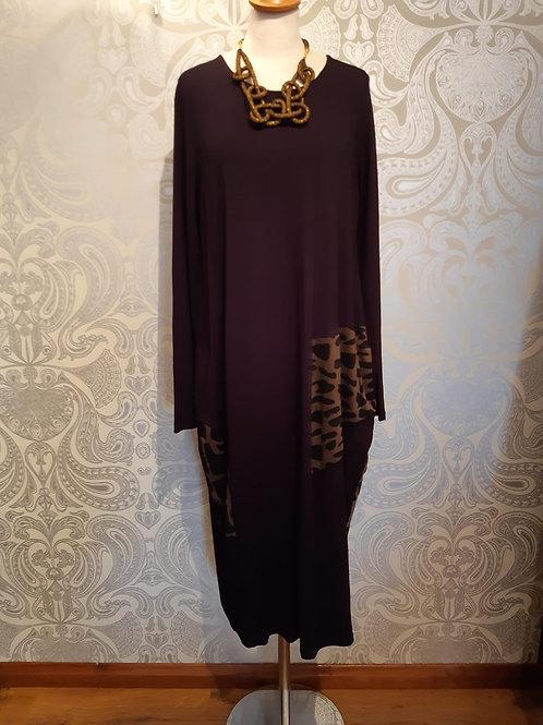 Alembika  black dress with animal print