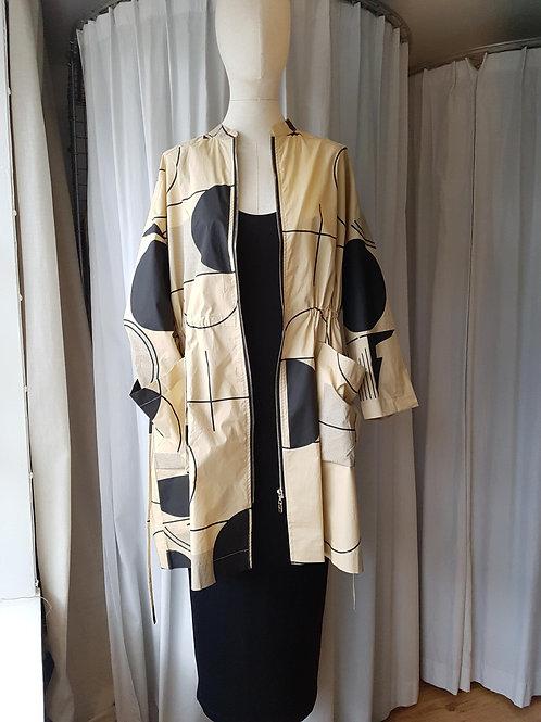 Thanny zip-up jacket camel black print