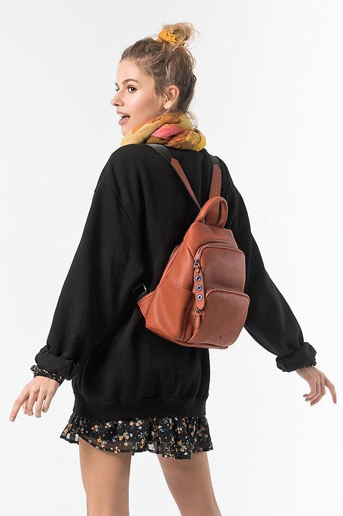 Abbacino Ladies Backpack in rust PU