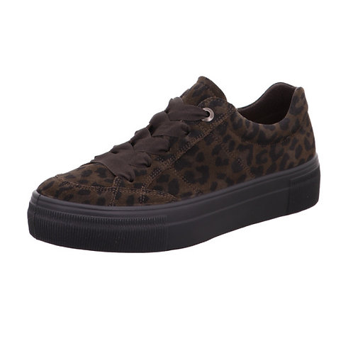 Legero Lima platform lace-up trainer in suede - animal print