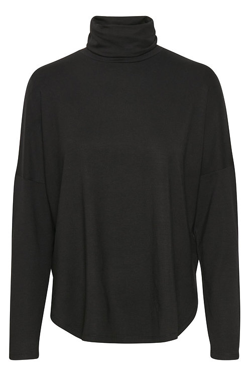 Part Two Eala black polo knitted top