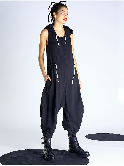 Lurdes Bergada black jumpsuit with contrast trims M20 105