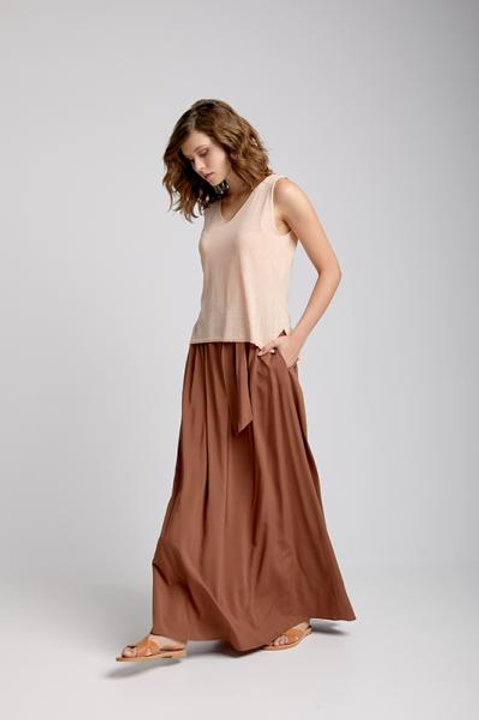 Moutaki maxi skirt in tabacco