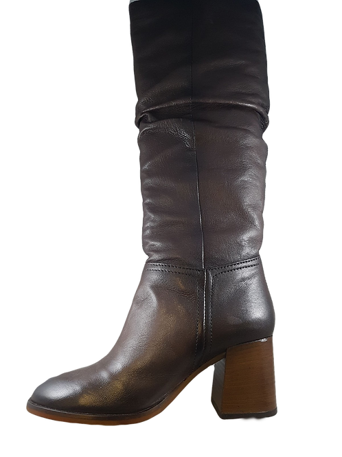 Mjus Leather Brown Long Boot With Heel