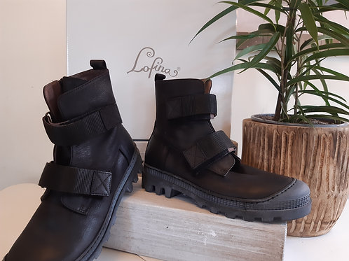 Lofina Leather Chunky Worker Boot with Straps