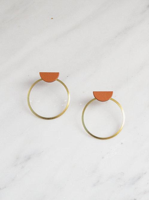 Wolf & Moon Half Circle Hoop Earrings