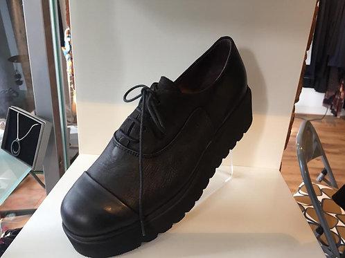 Lofina Black Lace Up Chunky Shoe