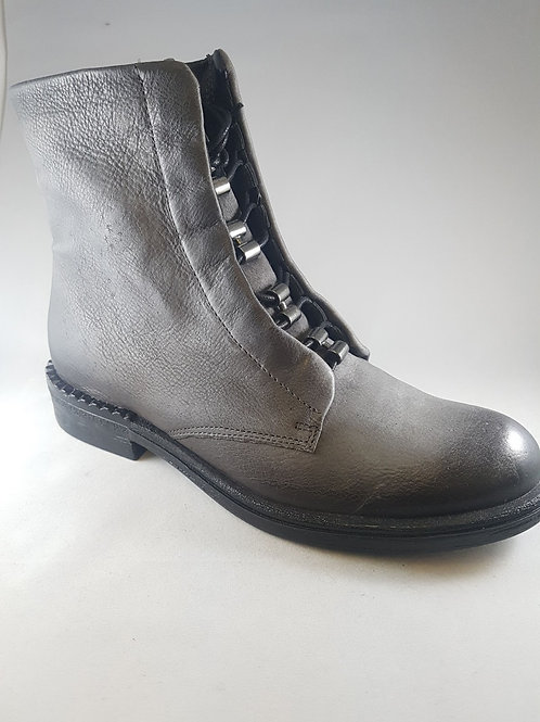 Mjus Leather Grey Eyelet Ankle Boot With Zip