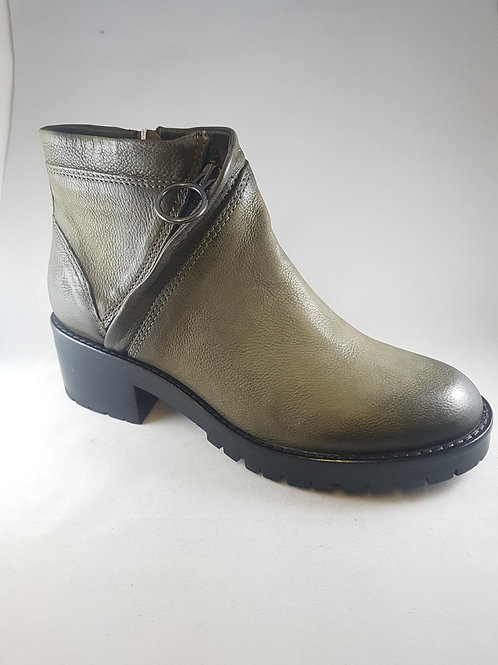 Mjus Khaki Leather Chunky Ankle Boot