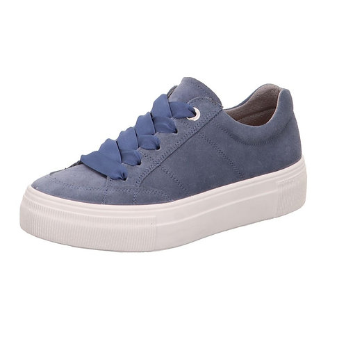 Legero Lima platform lace-up trainer in suede  - denim blue
