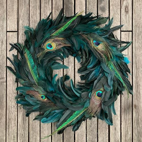 Fallen Peacock Feather Festive Wreath