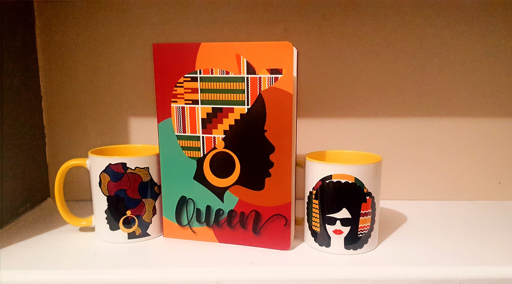 Afro centric mugs and notebook featured in UK based subscription box
