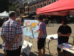 At a recent Farmer's Market on Market Square, we invited visitors to our booth to locate places they have visited on our huge world map. A great chance to explain about CISV.