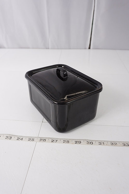 Enamel Surgical Ware Pan With Lid - Black