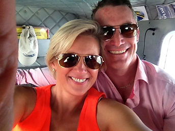 Jenny and Andrew Dalton in the air over Sydney