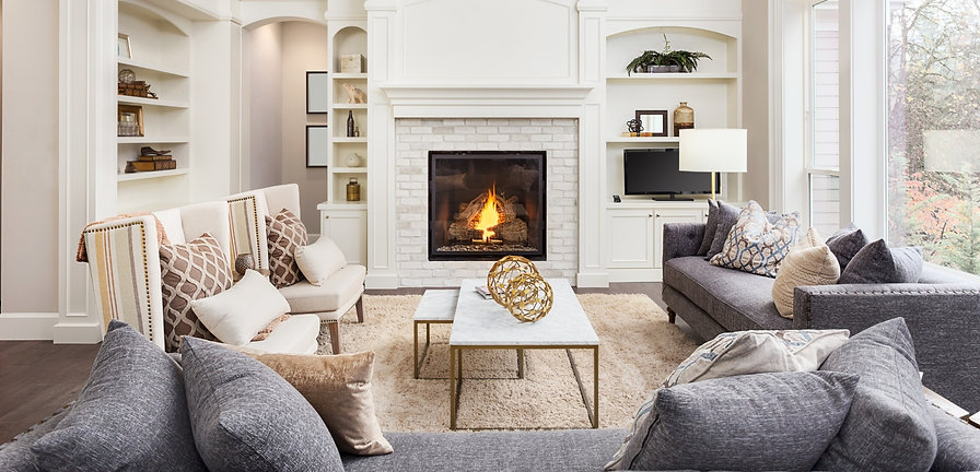 Home staging in lounge with fireplace, lounge and decor