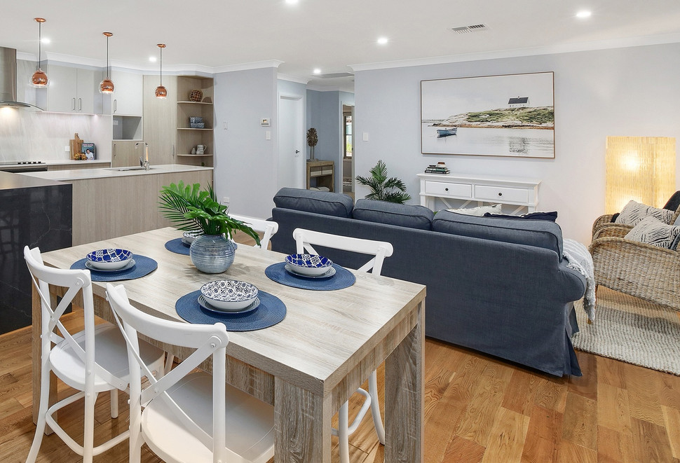 Lounge dining area styled in beach theme