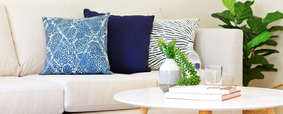 Property staging of lounge cushion and decor
