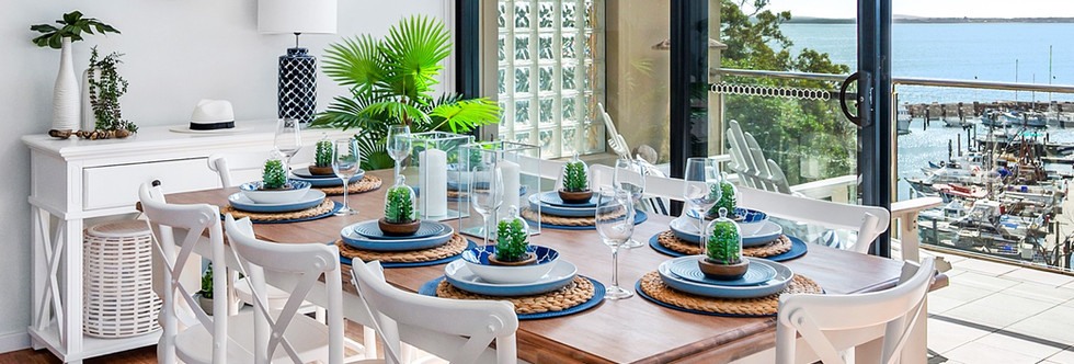 Dining table full setting and view nelso