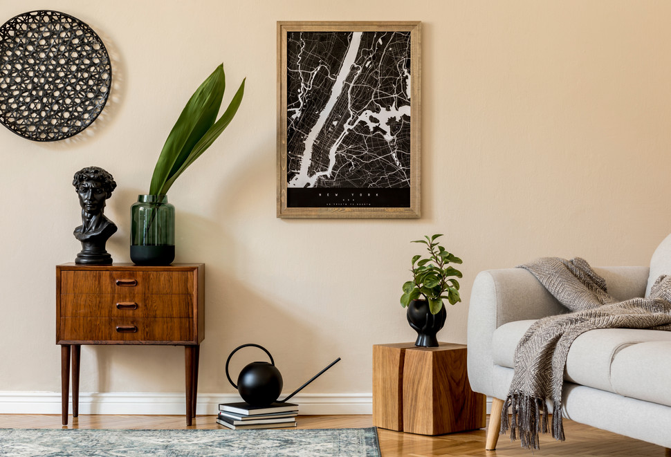 Lounge and artwork with accessories