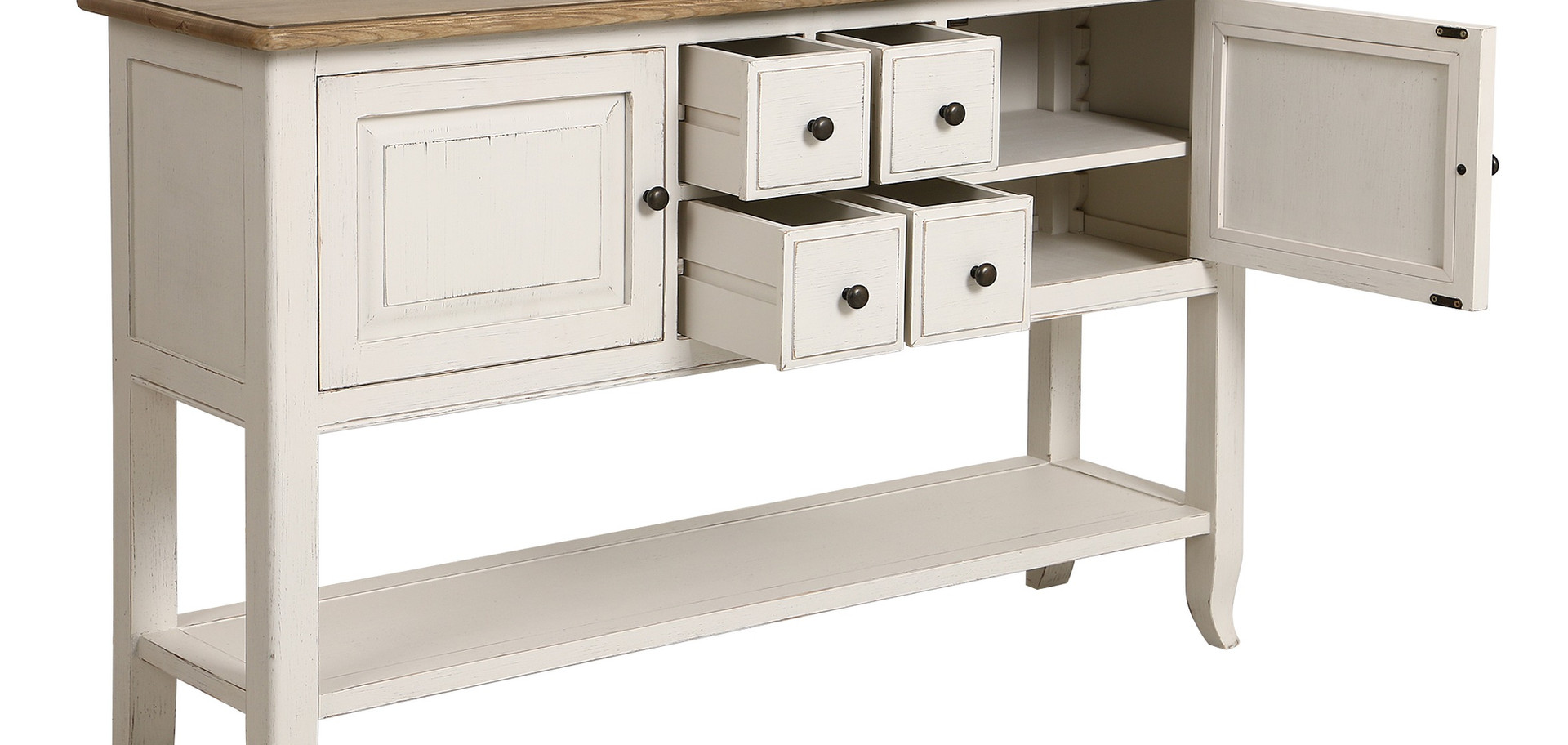Beautiful aged white console with drawers and cupboards