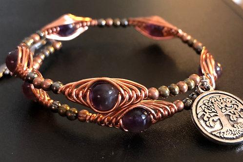 Copper - Amethyst Bracelet