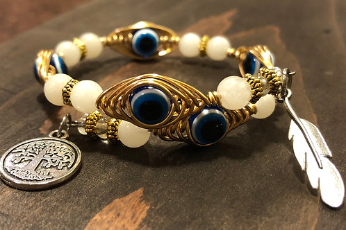"Gold - Evil Eye ""Nazar"" and Rose Quartz Bracelet"