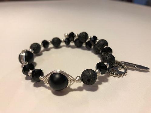 Silver - Black Obsidian and Lava Rock Bracelet