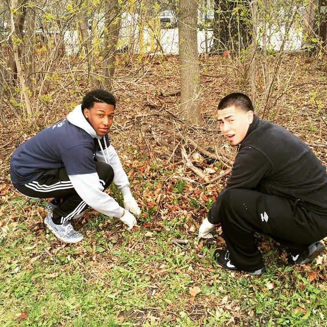 Kimani and Ivario pulling garlic mustard _the_sca _sca_milwaukee many thanks to our sponsors _southw