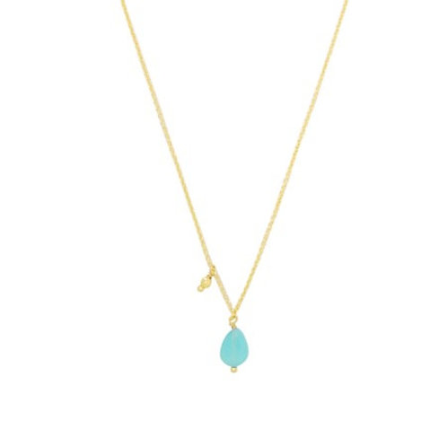 Ketting 'Funky Stone' turquoise/goud
