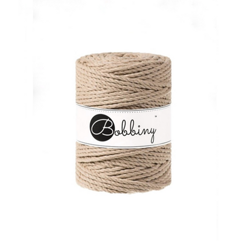 Bobbiny macrame 5mm triple twist - Sand