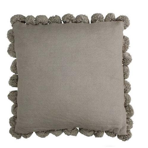 Cushion Pompoms grey