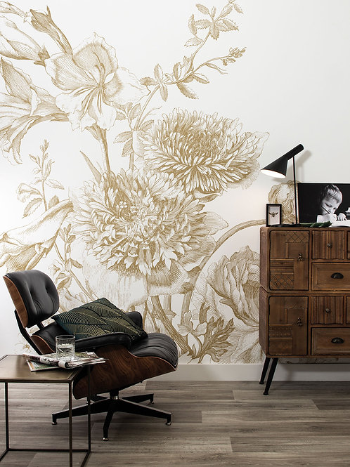 KEK Amsterdam | Goud behang Engraved Flowers MW-028