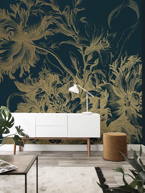 KEK Amsterdam | Goud behang Engraved Flowers MW-013