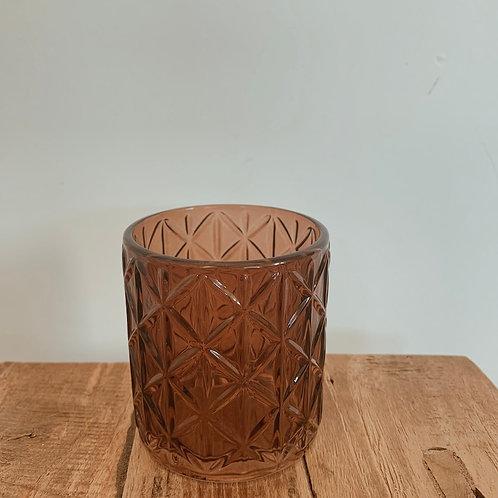 Waxinehouder ruit bruin