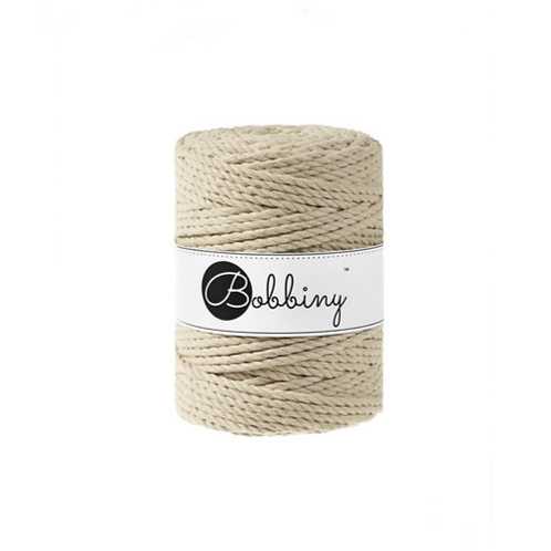 Bobbiny macrame 5mm triple twist - Beige