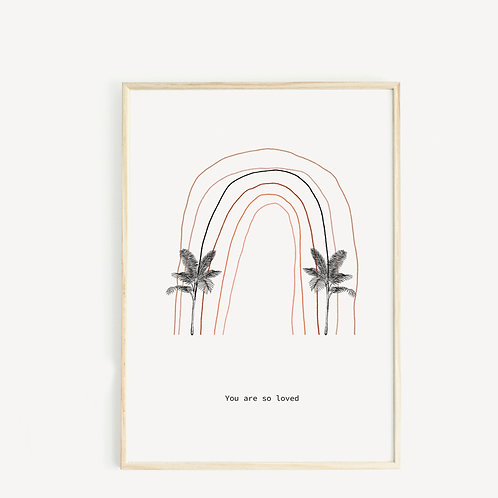 May and Fay Print A3 Rainbow and palms
