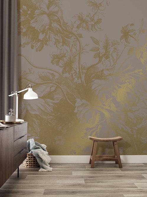 KEK Amsterdam | Goud behang Engraved Flowers MW-016