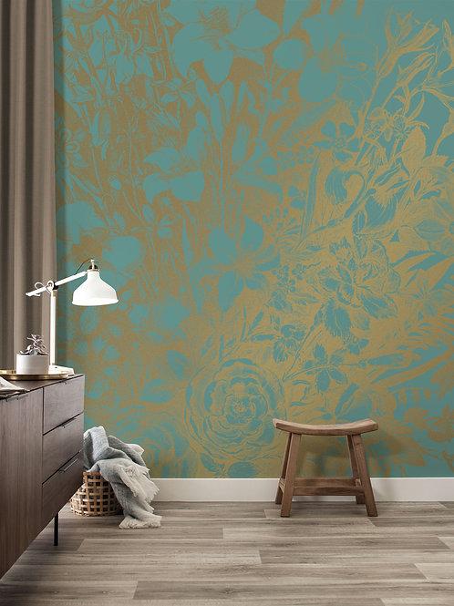 Goud behang Engraved Flowers - MW-019