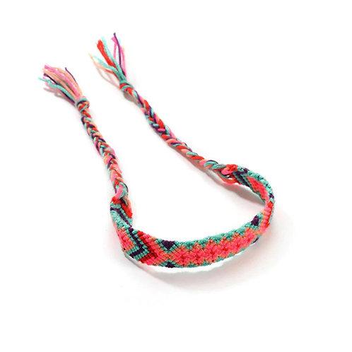 Gevlochten armband 'Ibiza' roze/blauw