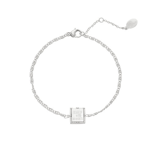 Armband 'Head Up & No Regrets' zilver