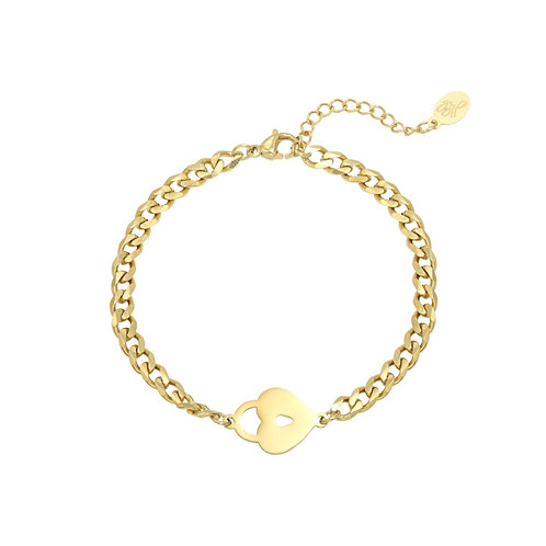 Schakelarmband 'Locked Heart' goud