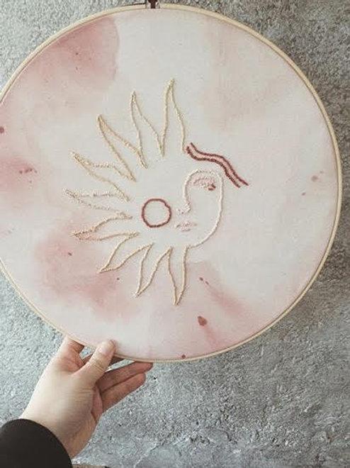 Idylness Embroidery Hoop Abstract Sun Face