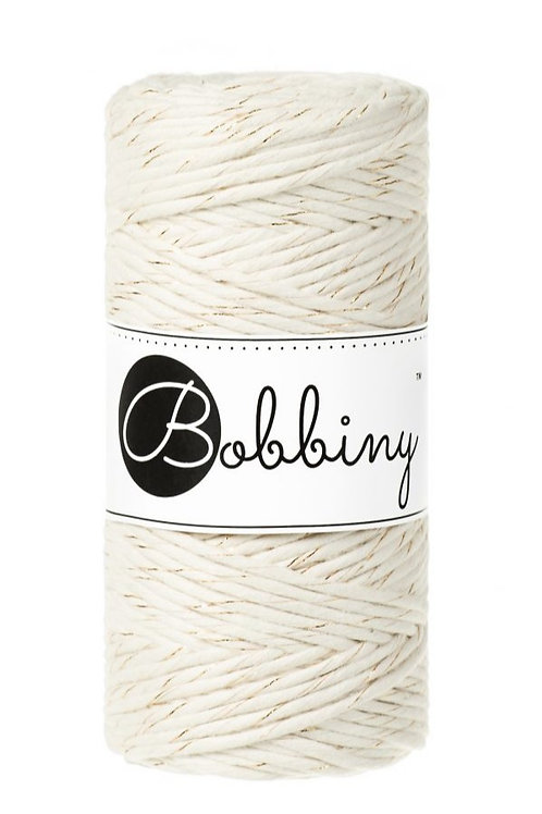 Bobbiny macrame 3mm single - Natural Golden