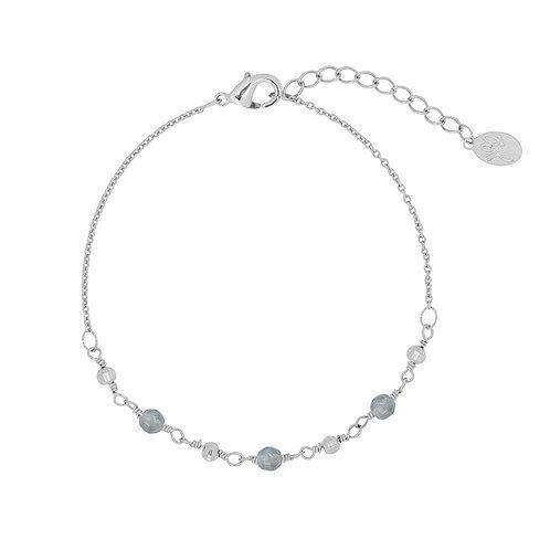 Armband 'Beads' grijs/zilver